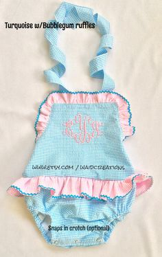 Gingham seersucker one piece toddler ruffle swimsuit  sizes Newborn - 7T $48.00 (includes monogram, SNAPS in crotch & rick rack trim)  * Super