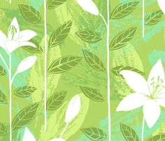 Barbados green custom fabric by neatdesigns for sale on Spoonflower