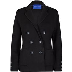 Winser London Milano Wool Double Breasted Blazer , Black (€205) ❤ liked on Polyvore featuring outerwear, jackets, blazers, black, short wool jacket, tailored blazer, long sleeve blazer, short-sleeve blazers and double breasted jacket