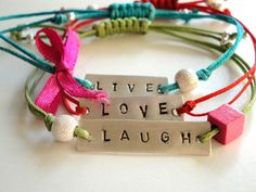 Live Love Laugh Adjustable Multi Cords Sterling Silver Bracelets-  Adjustable Friendship Jewelry Gift for Woman