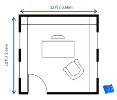 #MySuiteSetupSweepstakes This 12 x 12ft (3.66 x 3.66m) home office floor plan houses a 5 x 2½ft (1.52 x 0.76m) sitting more or less central in the room.  There's ample shelving and room for a guest / reading chair.  For more on home design click through to the website. Love this setup for home office.