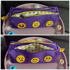 Trousse Zip-Zip cousue par Val - simili cuir violet et patchs smiley emoji -patron Sacôtin