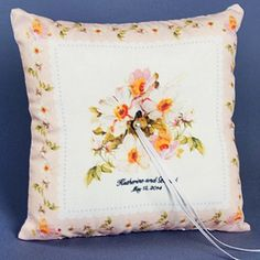 Personalized Light Pink Floral Hankie Ring Pillow