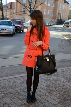 I have an orange trench coat like this... Need more ideas of how to style it