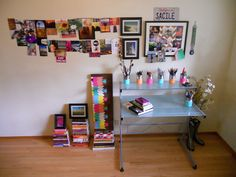 My office is now my Inspiration Wall & Creative Center, DIY. I used cork board strips, 1in. width, to create ever changing inspiration boards (attaching photos w/ paper clips, close pins, or thumb tacks). Also, painted food cans w/ acrylic paint to bring some color to my art supply organization.