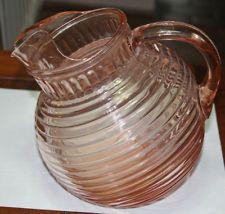 Hocking Manhattan Pink Depression Glass Tilted Pitcher
