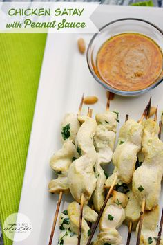 Chicken Satay with Peanut Sauce - so addicting! This appetizer never lasts long at a party.