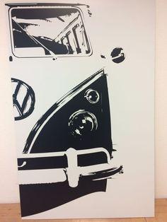 Aktuell in den #Catawiki-Auktionen: Decal-Art - VW T1 Samba Bus Porsche Motiv - 64 x 100 cm