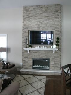 "DIY ""Fireplace"" Stones over wood frame, electric inset fireplace More"