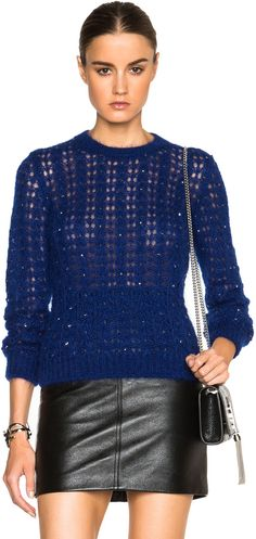 Saint Laurent Crystal Mohair Pullover