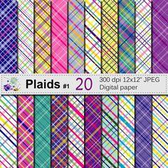 Plaid Digital Paper Set Bright Plaid Digital by VRDigitalDesign