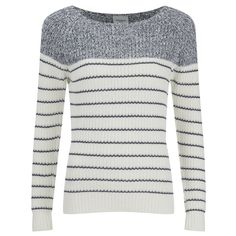Vero Moda Women's Zoey Long Sleeve Blouse - Snow White/Ombre Blue ($18) ❤ liked on Polyvore featuring tops, blouses, white top, white long sleeve shirt, long sleeve blouse, long-sleeve shirt and white shirt