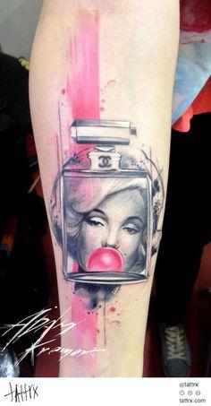 Pink Marilyn Monroe Parfume Trash Polka Aquarelle tattoo by Adam Kremer Tattoos 3d, Girly Tattoos, Body Art Tattoos, Sleeve Tattoos, Tatoos, Woman Tattoos, Tattoo Skin, Tattoo Art, Marilyn Monroe Tattoo