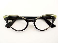 Vintage Glasses 50s Frame Cat Eye Glasses Eyeglasses Sunglasses New. $110.00, via Etsy.