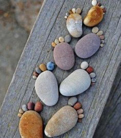 Beach Feet.... maybe hotglue or super glue the rocks down on a plank of 4 by 4 for cheap adorable wall art!