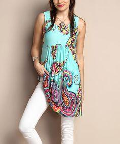 Another great find on #zulily! Aqua Paisley Sleeveless Empire-Waist Tunic Dress - Plus #zulilyfinds