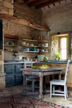 Discover kitchen design ideas on HOUSE - design, food and travel by House & Garden. An artist's rustic barn kitchen with range cooker. Kitchen ideas, design and inspiration from world's best interior designers. Barn Kitchen, Rustic Kitchen Design, Stone Kitchen, Kitchen Decor, Kitchen Designs, Kitchen Country, French Kitchen, Kitchen Interior, Kitchen Small