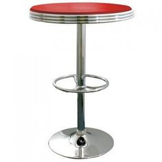 AmeriHome Soda Fountain Style Bar Table - Red