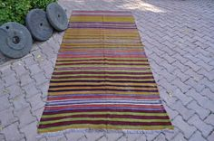 Vintage Turkish Rug Kilim Flat Weaving Turkish Kilim Rug 4' x 9' Turkish Floor Rug Flat Handwoven Rug Turkish Floor Bohemian Kilim Rug