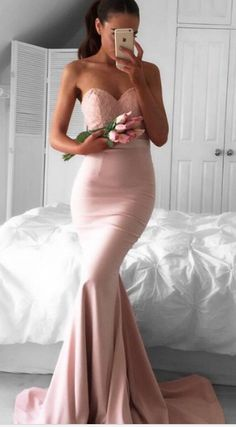 long prom dress, pink prom dress, mermaid long prom dress,2017 prom dress, bridesmaid dress