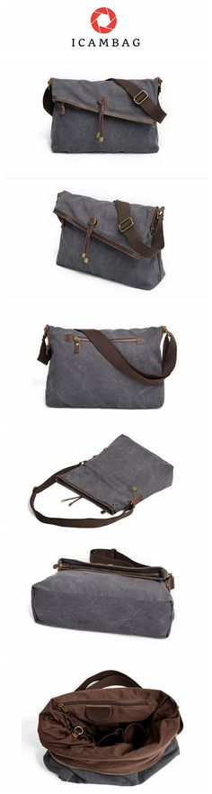 Canvas bag single shoulder bag casual men and women crossbody bag with leather cotton cloth bag  9121-F
