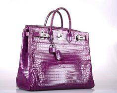 YOU ARRIVED! HERMES BIRKIN BAG VIOLET CROCODILE HAC 40cm POROSUS SHINY UNISEX | From a collection of rare vintage handbags and purses at https://www.1stdibs.com/fashion/accessories/handbags-purses/