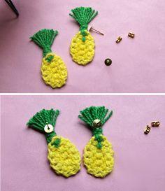 crochet pineapple earrings