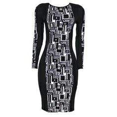 Club L Black/Beige Squared Print Ladies Bodycon Dress