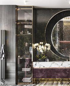 "Portfolio: City view apartment in ""Moscow-City"" centre Luxury Homes Interior, Luxury Home Decor, Home Interior Design, New Modern House, Modern House Design, Diy Bathroom Decor, Bathroom Interior, Bathroom Ideas, Eclectic Bathroom"