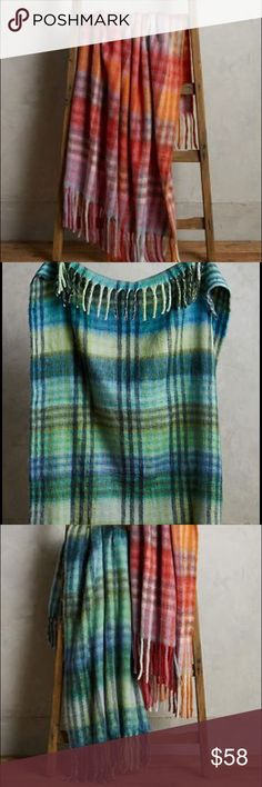 """Anthropologie Plaid Palette Throw blue or orange For sale are two brand new, with tags blankets from Anthropoloige. One is orange/pink and the other blue/green as pictured. Please indicate which one you'd like in the comments section after purchasing. Made from acrylic, wool, and polyester blend. Very warm and fuzzy! Super soft.  Dry clean Imported Style No. 36798858 Dimensions 50""""L, 60""""W Anthropologie Other"""