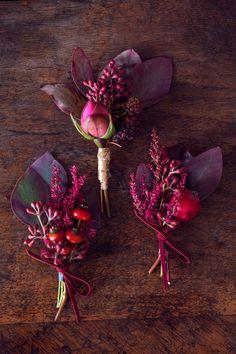 Rich And Vibrant Buttonholes Pinned By High Billinghurst Farm Wedding Venue