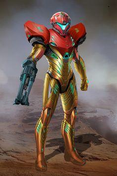 Samus suit with more alien and organic influence Metroid Samus, Samus Aran, Metroid Prime, Robot Concept Art, Armor Concept, Fantasy Weapons, Fantasy Warrior, Plantas Versus Zombies, Zero Suit Samus