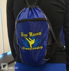 Cinch sacks are great for customization! This  martial arts championship cinch sack is made of polyester, making Elasti Prints the best screen printed transfer option. TransferExpress.com