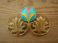Lotus Earrings Brass Earrings Spiral Earrings Flower by OCcreation