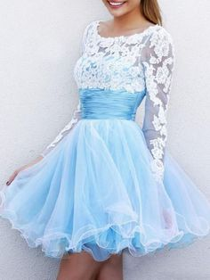 Buy here: http://www.choies.com/product/sky-blue-sheer-lace-panel-ruched-waist-backless-pouf-dress_p45960?cid=9085jessica