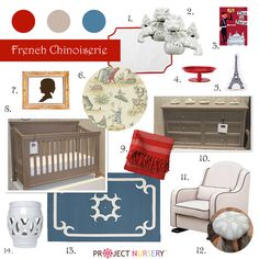 """French Chinoiserie"" Nursery Design Board #designboard #nursery"