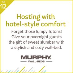 Make hosting overnight guests stress-free and stylish this holiday season with the installation of a Murphy wall-bed.