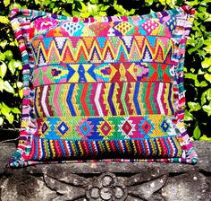 1A Guatemalan Geometric Multicolor Pillowcase   Fresco Fabrics