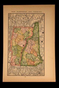 Antique Map New Hampshire Vermont State 1886 Original 1800s