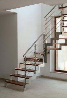 Escalera en U con zancas laterales (estructura metálica y peldaños de madera) - IBISCO C - New Living srl