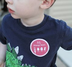 Food Allergy alert stickers for child care or camp.  Easier than a t shirt