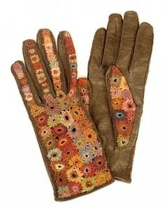 Sophie Digard Leather and Wool Gloves