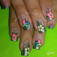 Acrylic Nail Designs, Nail Art Designs, Acrylic Nails, Spring Nails, Summer Nails, Magic Nails, Fabulous Nails, Nice Nails, 3d Nails