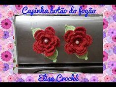 Versão canhotos : Capinha para botão do fogão flor moranguinho em crochê # Elisa Crochê - YouTube