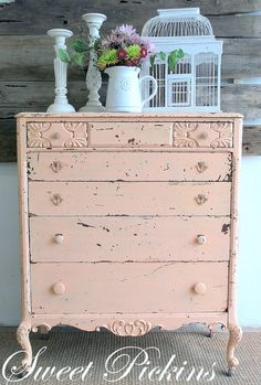 a perfect pink bureau  I am not usually a pink lover but lately I`m drawn to all things pink, this is so soft and pretty. love to know the actual paint colour.