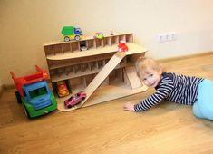 Wooden car garage Gift for boy Car shelf Toy car storage