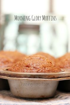 Morning Glory Muffin Recipe - Inspired Home Style Breakfast Muffins, Breakfast Recipes, Breakfast Ideas, Morning Glory Muffins, Crockpot Recipes, Healthy Recipes, Yummy Food, Tasty, Healthy Muffins