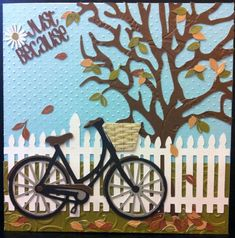 card bike bicycle tree fence tree leaves fall autumn foliage grass Marianne design bicycle die - card from Sharon Callis using Xyron! Backyard Fences, Yard Fencing, Fence Garden, Fence Art, Fence Landscaping, Pool Fence, Bicycle Cards, Album Scrapbook, Art Diy