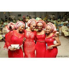 Nigerian wedding red ore-iyawo aso-ebi color combination