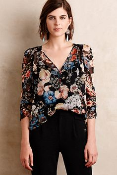 Caterina Silk Blouse #anthropologie-Love the floral print for fall.